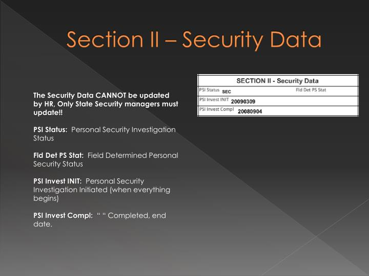 Section II – Security Data