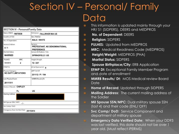 Section IV – Personal/ Family Data
