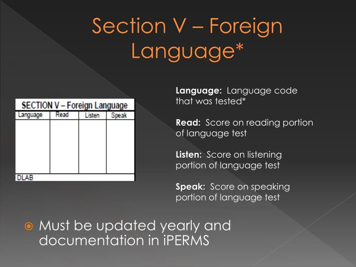 Section V – Foreign Language*