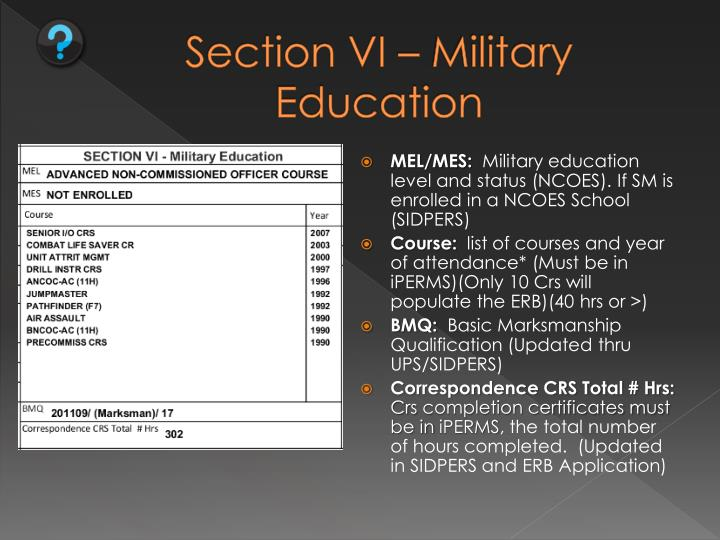 Section VI – Military Education