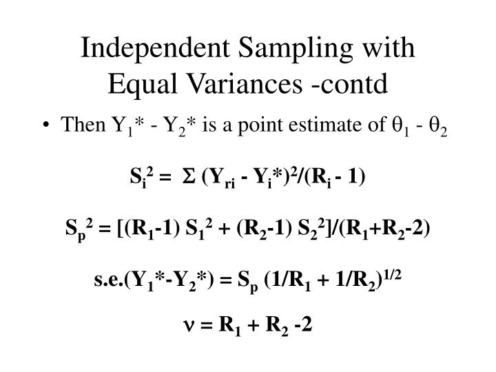 Independent Sampling with Equal Variances -contd