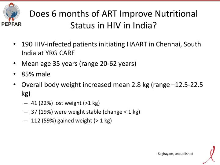 Does 6 months of ART Improve Nutritional Status in HIV in India?