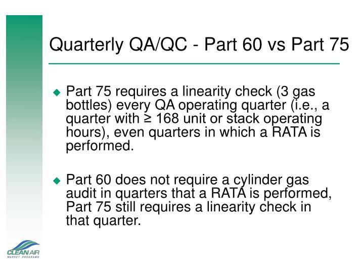 Quarterly QA/QC - Part 60 vs Part 75