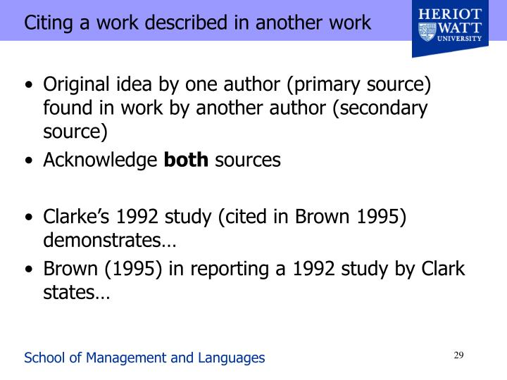 Citing a work described in another work