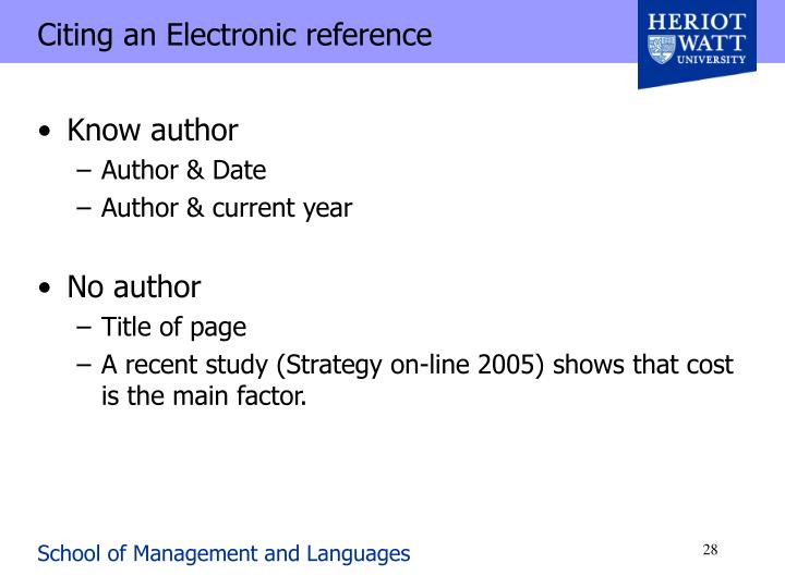 Citing an Electronic reference