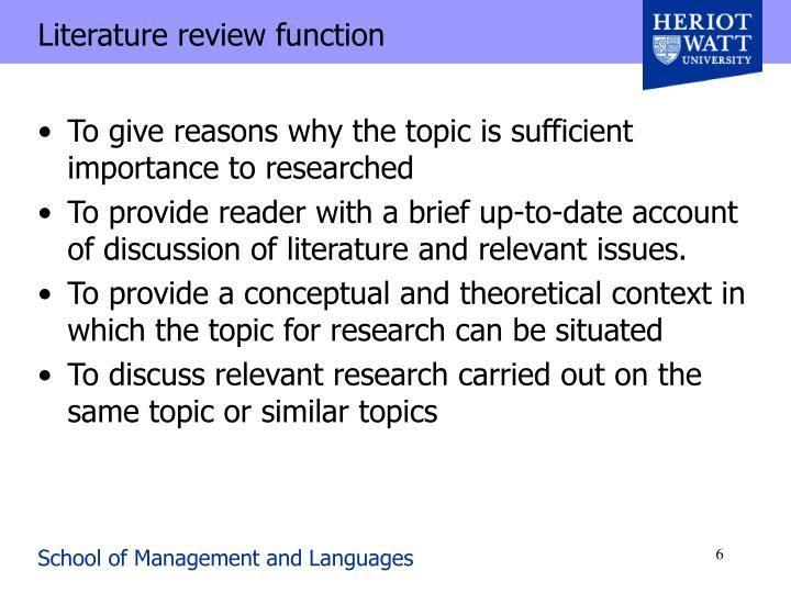 Literature review function