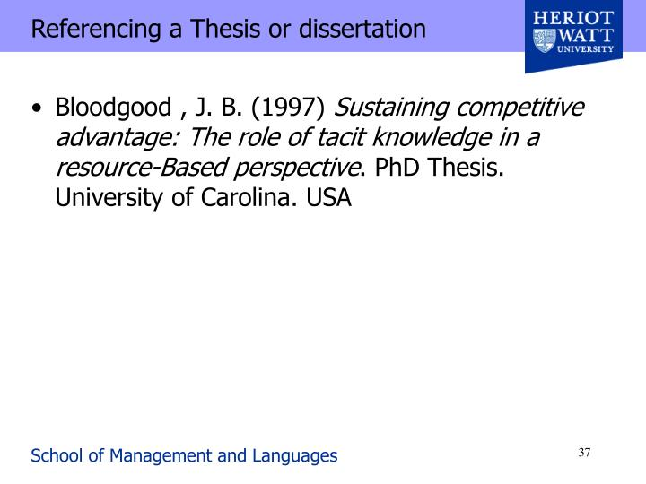 Referencing a Thesis or dissertation