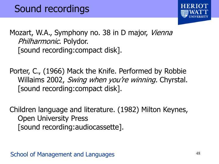 Sound recordings