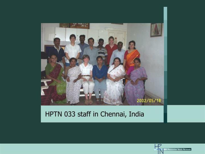 HPTN 033 staff in Chennai, India