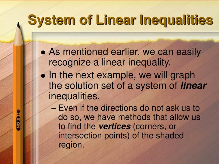 System of Linear Inequalities