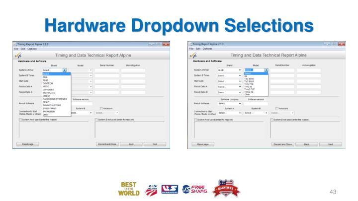 Hardware Dropdown Selections