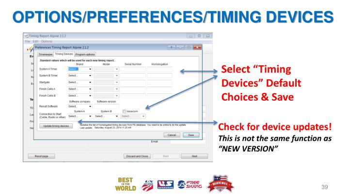 OPTIONS/PREFERENCES/TIMING DEVICES