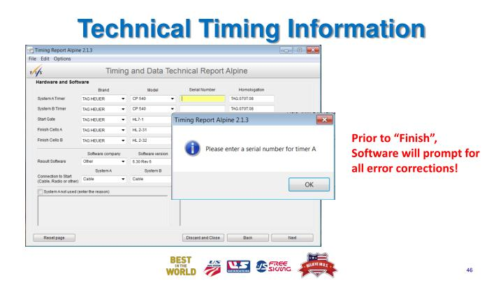 Technical Timing Information
