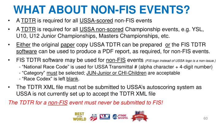 WHAT ABOUT NON-FIS EVENTS?