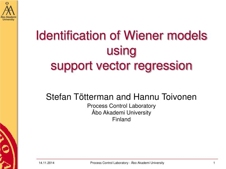 Identification of wiener models using support vector regression