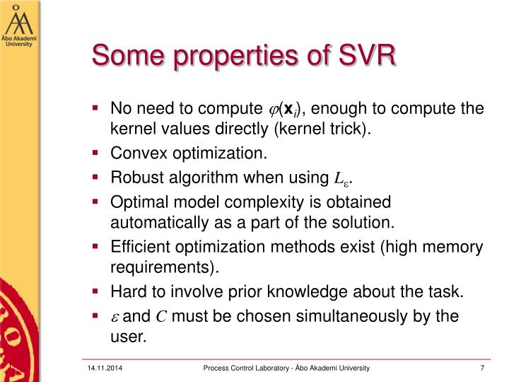 Some properties of SVR