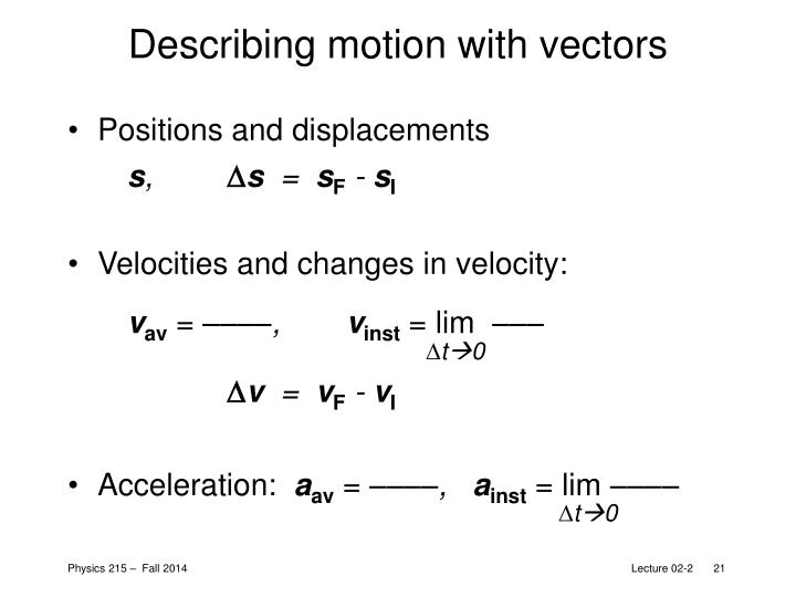 Describing motion with vectors