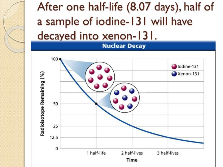 After one half-life (8.07 days), half of a sample of iodine-131 will have decayed into xenon-131.