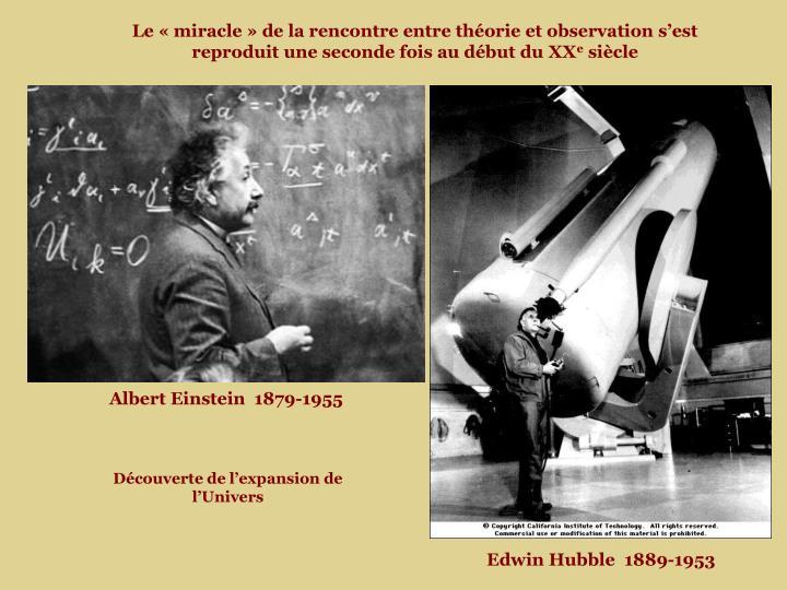 Le « miracle » de la rencontre entre théorie et observation s'est reproduit une seconde fois au début du XX