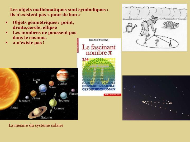 Les objets mathématiques sont symboliques : ils n'existent pas «pour de bon»