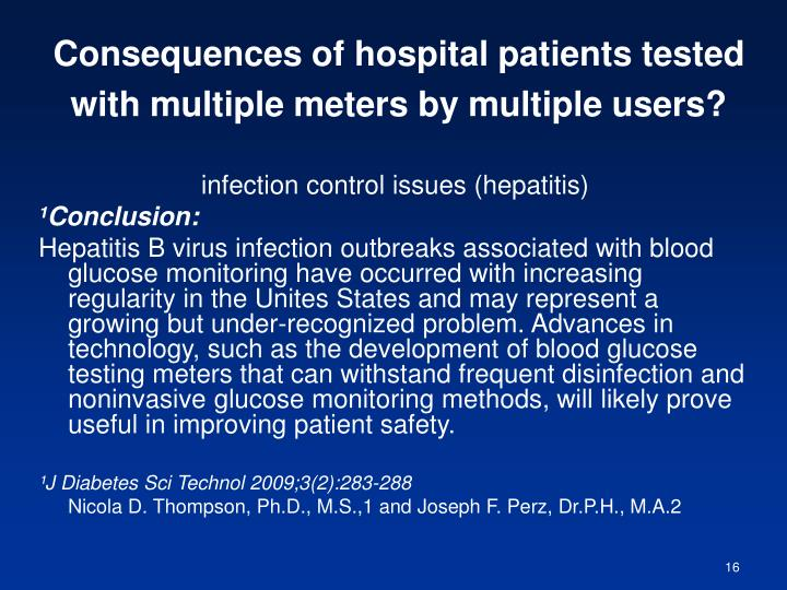 Consequences of hospital patients tested with multiple meters by multiple users?