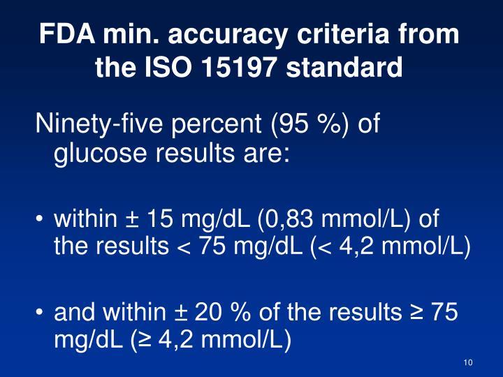 FDA min. accuracy criteria from the ISO 15197 standard