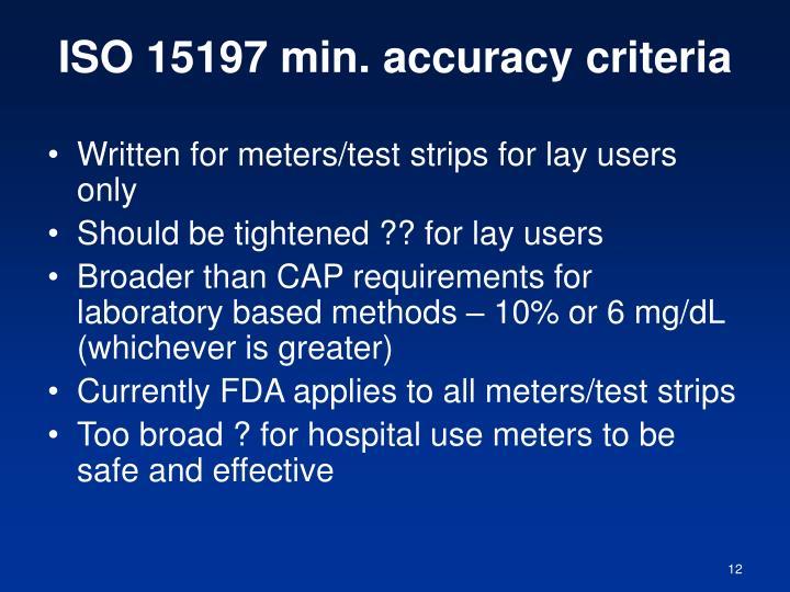 ISO 15197 min. accuracy criteria