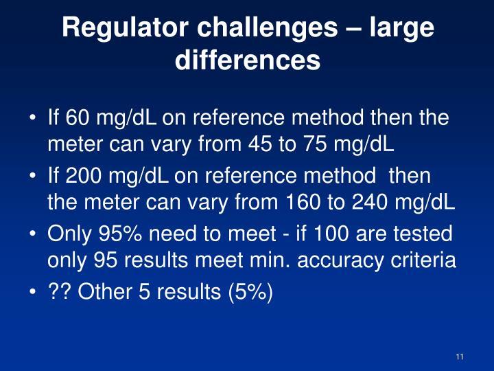 Regulator challenges – large differences