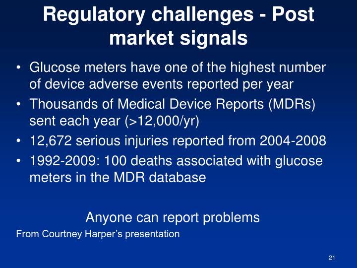 Regulatory challenges - Post market signals