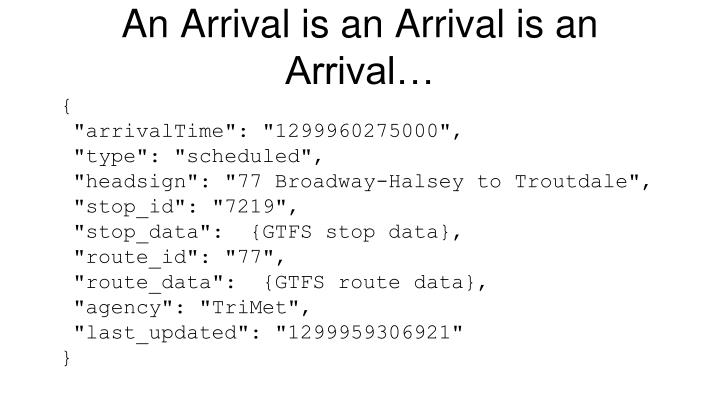 An Arrival is an Arrival is an Arrival…