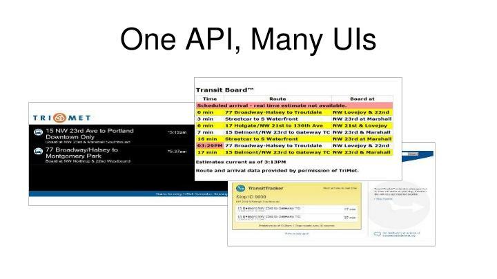 One API, Many UIs