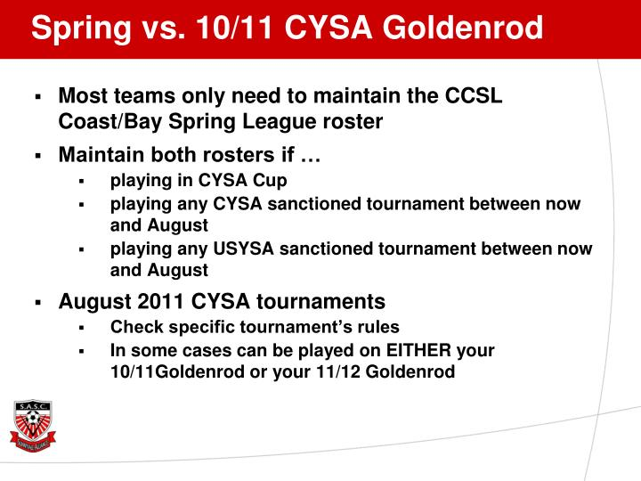 Spring vs. 10/11 CYSA Goldenrod