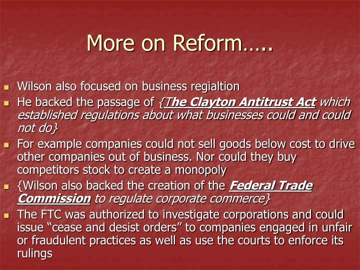 More on Reform…..