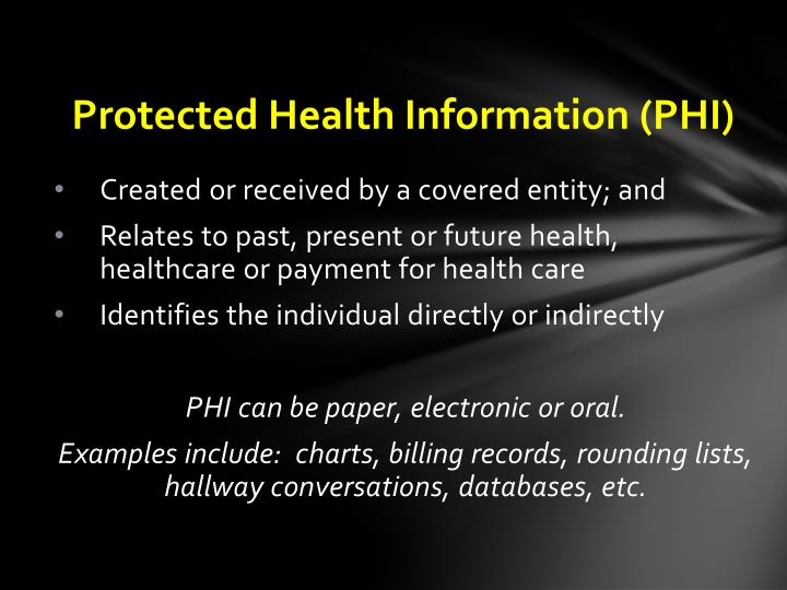 Protected Health Information (PHI)