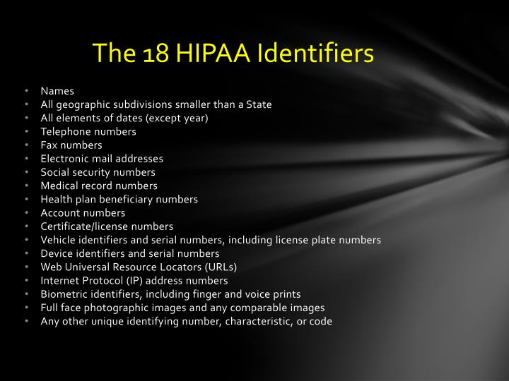 The 18 HIPAA Identifiers