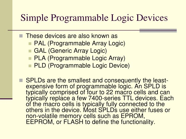Simple Programmable Logic Devices