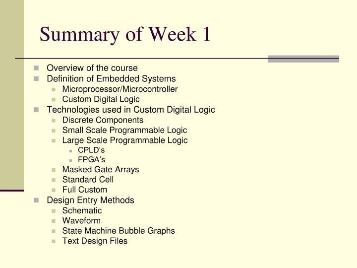 Summary of Week 1