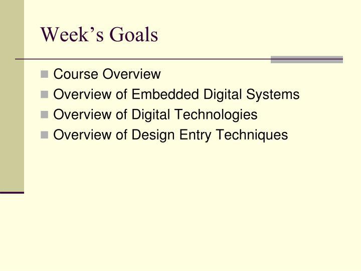 Week's Goals