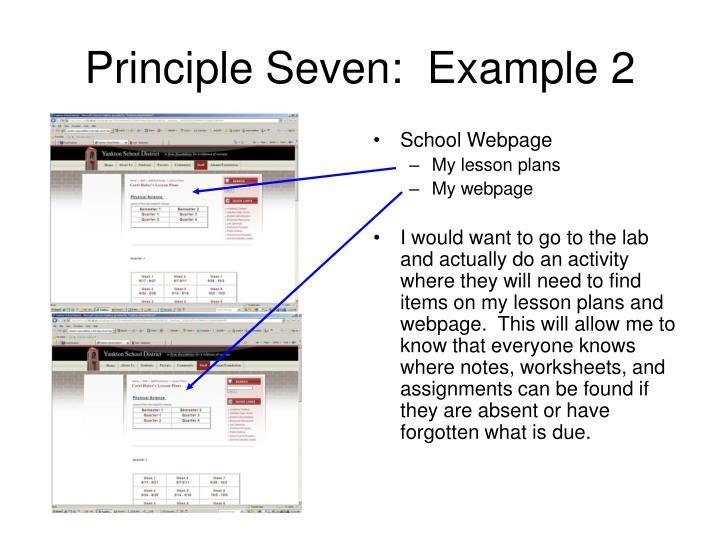 Principle Seven:  Example 2