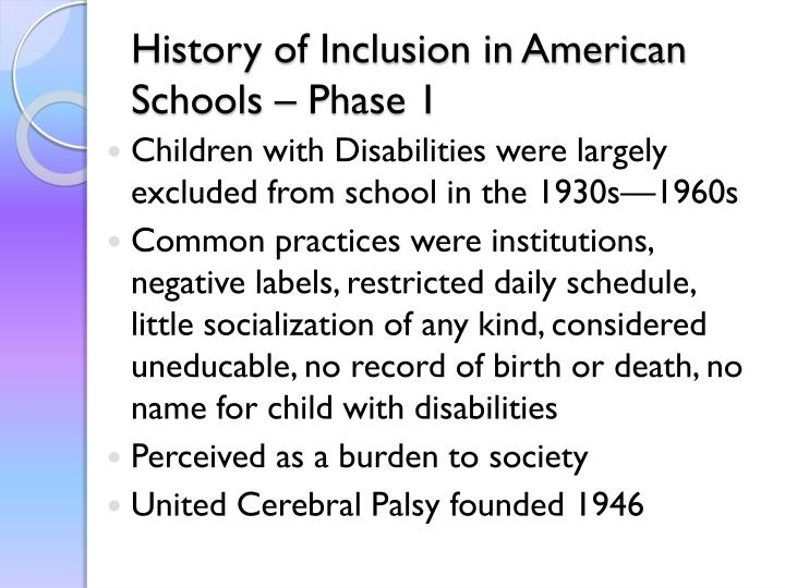 History of Inclusion in American Schools – Phase 1