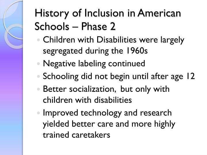 History of Inclusion in American Schools – Phase 2