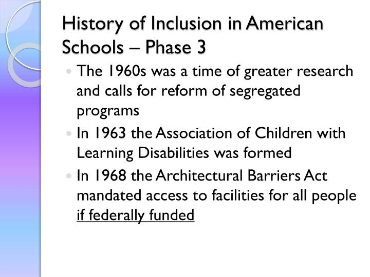 History of Inclusion in American Schools – Phase 3