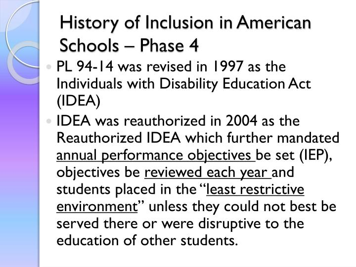 History of Inclusion in American Schools – Phase 4