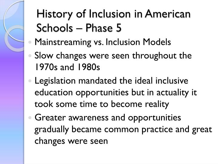 History of Inclusion in American Schools – Phase 5