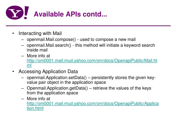 Available APIs contd...