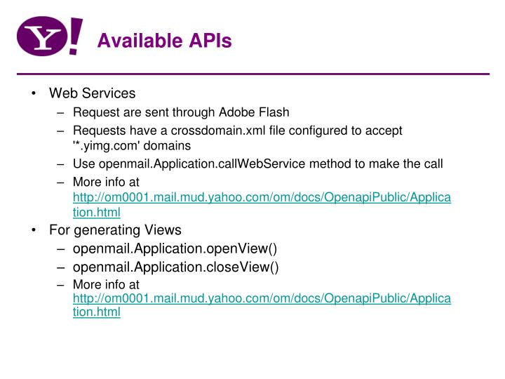 Available APIs