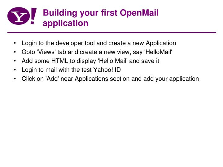 Building your first OpenMail application