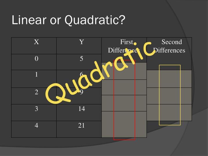Linear or Quadratic?