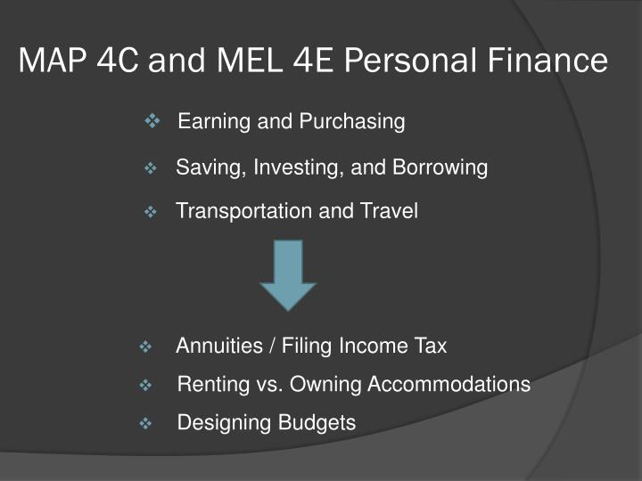 MAP 4C and MEL 4E Personal Finance