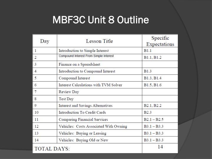 MBF3C Unit 8 Outline